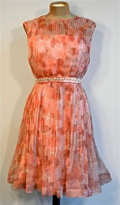 60s Floral Coral and Pink Knife Pleat Chiffon Dress by shopNOV, $87.00