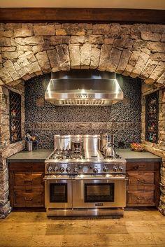 Home Rustic Kitchen Stove 16 Best Ideas Farmhouse Kitchen Cabinets, Kitchen Stove, Modern Farmhouse Kitchens, New Kitchen, Kitchen Decor, Kitchen Country, Kitchen Ideas, Tuscan Kitchens, Country Homes