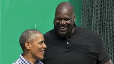 President Barack Obama jokes with former NBA player Shaquille O'Neal on the basketball court during the White House Easter Egg Roll at the White House in Washington, Monday, March 28, 2016. Thousands of children gathered at the White House for the annual Easter Egg Roll. This year's event features live music, sports courts, cooking stations, storytelling, and Easter egg rolling. (AP Photo/Jacquelyn Martin)
