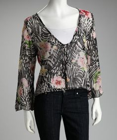 Take a look at this Black & White Floral Sheer Chiffon Cardigan by Papillon Imports on #zulily today!