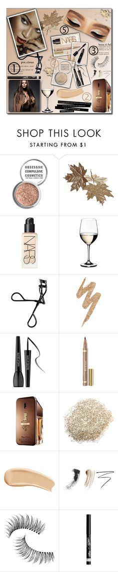 """""""Gold glitter 'Beyoncé"""""""" by kawtar-el ❤ liked on Polyvore featuring Obsessive Compulsive Cosmetics, NARS Cosmetics, Riedel, Bobbi Brown Cosmetics, Urban Decay, L'Oréal Paris, MAKE UP FOR EVER, Paco Rabanne, Yves Saint Laurent and Eyeko"""