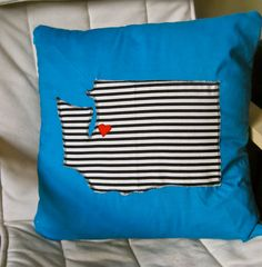 Etsy - State Pillow Cover w/ heart 14  Choose your Color by OffBeatBetty, $20.00.   The only problem is that the heart is a little too far south...