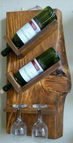 bouteille - Home decor - Wein Diy Wood Projects, Wood Crafts, Rustic Furniture, Diy Furniture, Wine Rack Inspiration, Wine Rack Design, Rustic Wine Racks, Wooden Wine Holder, Pallet Wine Rack Diy