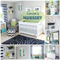 Simon's Nursery Reveal   DIY Nursery   DIY decorations   navy, green & gray - DIY nursery photos & details