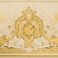 Gold/Yellow/Ivory Scrolls on Floral Embossed Paper # Rolls: Condition: Excellent See an example of Ready-to-Hang Artwork based on this Wallpaper. Antique Wallpaper, Original Wallpaper, Embossed Paper, Borders For Paper, Wallpaper Roll, Vintage World Maps, Rolls, Antiques, Floral