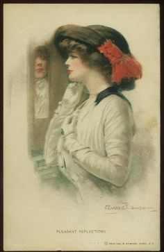 "Clarence Underwood postcard of an elegant woman looking in mirror ""Pleasant Reflections"" circa 1910."