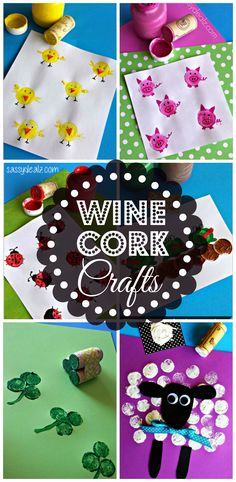 Wine Cork Crafts & Art Project for Kids Here are some fun wine cork crafts for kids to make! They are easy and cheap art projects to do! Crafts For Kids To Make, Projects For Kids, Kids Crafts, Craft Projects, Arts And Crafts, Kids Diy, Wine Cork Projects, Wine Cork Crafts, Bottle Crafts