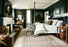 master bedroom paint colors This master bedroom designed by Barbara Westbrook of Westbrook Interiors is dramatic and elegant with its dark wall color, four-poster bed and eye Bedroom Green, Cozy Bedroom, Green Bedrooms, Bedroom Ideas, Trendy Bedroom, Bedroom Inspiration, Dark Bedrooms, Masculine Bedrooms, Light Bedroom