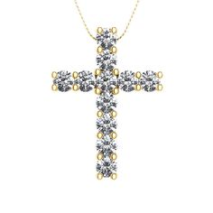 This pendant features diamonds overlaying a traditional cross. The diamonds are set in prong settings. This item is a great gift for any