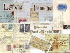 Laminas decoupage: Laminas antiguas de cartas.