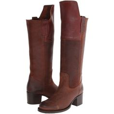 Frye Autumn Shield Tall (Redwood Oiled Suede) Cowboy Boots ($107) ❤ liked on Polyvore featuring shoes, boots, brown, knee-high boots, suede thigh-high boots, cowgirl boots, frye boots, suede knee-high boots and brown knee high boots