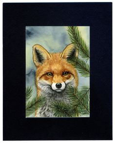 Red fox painting 5x7 print from original by Earthspalette on Etsy, $10.00
