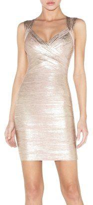 dcf236a699 Herve Leger Iman Foil Bandage Dress - ShopStyle