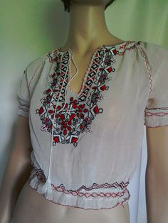 bbe8112a0c7546 Vintage BLOUSE Embroidered Gypsy Top White Sheer Cotton with RED and BLACK  Hand Embroidery Hungarian Peasant