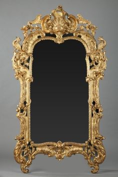 Gilt Wood Mirror in Louis XV Style