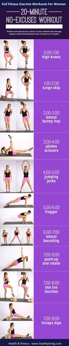 Muscle, Burn Calories: Printable Cardio-and-Strength Workout 20 minute no equipment workout. This workout is quick and effective and mixes classic cardio moves with bodyweight strength-training exercises to burn calories and build muscle. Fitness Workouts, Fitness Motivation, Sport Fitness, Body Fitness, Fitness Diet, At Home Workouts, Health Fitness, Easy Workouts, Cardio Workouts