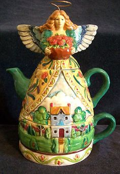 Jim Shore Ceramic Angel Tea for One Handpainted Halo Three Piece Set Cup Teapot for Karen