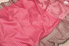 Grand Full Silver Zari buttas in pink Kanjeevaram Saree | SILK MARK CE – Shobitam Kanjivaram Sarees, Saree Wedding, Color Combinations, Ruffle Blouse, Pure Products, Silk, Fabric, Collection, Women