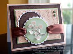 """Stamps: Embrace Life, Stitched Paper: Blush Blossom, Chocolate Chip, Whisper White Ink: Blush Blossom Chocolate Chip, White craft Accessories: vintage brads, 1/4"""" circle punch, chocolate wide satin ribbon, sponge daubers, dimensionals, vellum card stock, stylus, classic and scallop circle nestabilities (by Spellbinders), diamonds in the rough embossing folders (Cuttlebug)"""