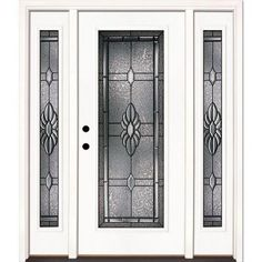 Feather River Doors Sapphire Patina Full Lite Primed Smooth Fiberglass Entry Door with Sidelites-6H3191-3B4 - The Home Depot