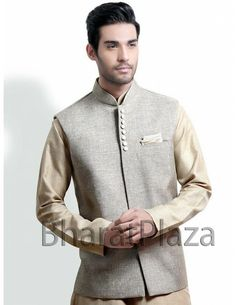 Rajneeti Style Waist Coat Item code : NJ1113  http://www.bharatplaza.com/mens-wear/coats/rajneeti-style-waist-coat-nj1113.html