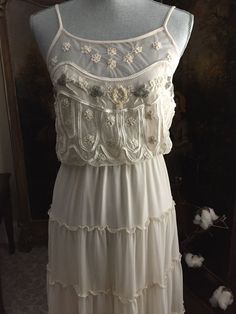NWT Free People Beaded Cream Ivory Maxi Dress XS perfect for Boho Wedding #FreePeople #Maxi #SummerBeach