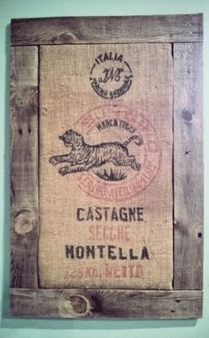 how to frame a coffee sack using palette wood