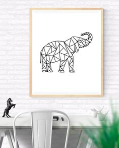 Origami Art Geometric elephant Printable wall by GabrielPrintables Geometric Elephant, Elephant Art, Notebook Case, Origami Art, Nursery Wall Art, Printable Wall Art, Art Prints, Creative, Handmade