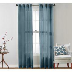 "Mercury Row Caldera Sheer Grommet Curtain Panels Size: 54"" W x 84"" L, Color: Dusty Blue"
