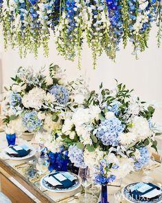 This #blueandwhite reception from @shingweddings is giving us major #summerwedding inspo! (: @deniselinphoto, planner & plates: @shingweddings, floral: @flowerfactory, decor design & table: @aotpvan, venue & chargers: @stanleyparkpav, glassware, flatware & napkins: @abpartytime, blue vases: @atkinsons_van)