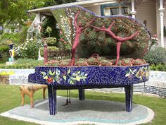 Unusual piano in the Giant's House sculpture garden, Akaroa (CIMG9156) by alg24, via Flickr