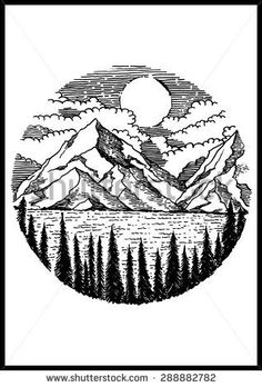 Image result for mountain and road ink illustration