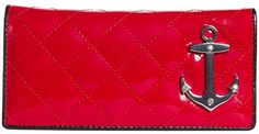 LUX DE VILLE BON VOYAGE WALLET BLK/RED SHINY Ahoy! The Lux De Ville Bon Voyage Wallet will have you going overboard with style! This vinyl wallet features diamond stitching and an anchor bauble with rhinestones, inside card holders and change holder in the perfect shade of candy apple red! $44.00 #luxdeville #wallet #anchor #pinup