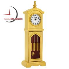 Mini Stately Gold Miniature Grandfather Clock