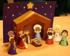 Great 3D Nativity colored templates. Print, cut and glue. Great for the little ones to tell the true Christmas story and to play with. Could laminate first to make more sturdy.