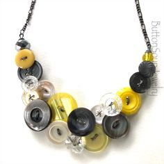 Button Jewellery, Button Necklace, Jewelry Necklaces, Earrings Photo, Button Crafts, Beautiful Gifts, Grey Yellow, Vintage Buttons, Statement Jewelry