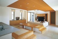 Japanese modern dining room with tatami bench.