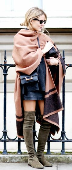 stuart weitzman over the knee boots | poncho | saint laurent bag | ootd | street style | fashion