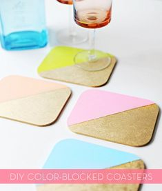 color-blocked coasters  credit: Rachael Smith [http://poppytalk.blogspot.ca/2012/06/diy-colour-blocked-coasters.html]