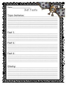 Bat Facts + Writing Paper + Bat Writing Paper + Free