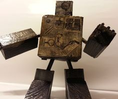 Handmade Reclaimed Wooden Robot Art by WizardsOfTechnomicon, $20.00