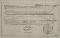 """""""Sea Witch"""", one of the very first Clippers,  1846.  Sheet 1. Lines: Designer: C.G. Davis"""