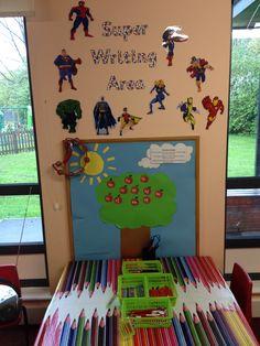 Super Hero Writing Area :) They love it Writing Corner, Writing Area, Writing Table, Super Hero Activities, Pre Reading Activities, Superhero Writing, Superhero Classroom, Superhero Theme Party, Party Themes