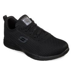 Skechers Work Women's Ghenter - Bronaugh Slip Resistant Work Shoes, Size: 9 Medium US, Black Skechers Work, Skechers Sneakers, Water Resistant Shoes, Skechers Relaxed Fit, Fabric Shoes, Comfortable Sneakers, Me Too Shoes, Black Shoes, Moda Femenina