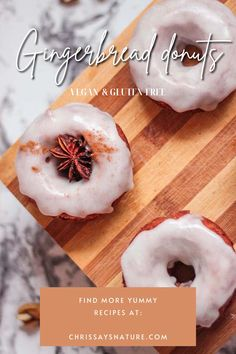 Christmas is just around the corner, so we can slowly tune in to the festive atmosphere. Although gingerbread cookies are traditional for Christmas, I decided to make it into easy baked gingerbread donuts, with sweet icing. The full recipe is vegan, gluten-free, and sugar-free. The batter for these gingerbread donuts is soft, fragrant, and really fluffy. These donuts are really easy to make. You will need just one bowl and mix all of the ingredients. #xmas #christmas #gingerbread #donuts Christmas Donuts, Vegan Christmas, Christmas Gingerbread, Christmas Recipes, Gingerbread Cookies, Donut Recipes, Free Recipes, Baking Recipes, Vegan Recipes