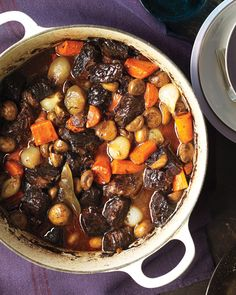 Beef Bourguignon...use fresh mushrooms instead of canned, more garlic, more bay leaves and smash black peppercorns to throw in. Instead of red wine I add sweet port and it's delicious.