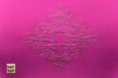 On Sale Bright Pink Razor Back Yoga Shirt with embroidered diamond shaped line design. Originally by Neleus.  pict 2