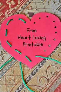 "Free Heart Lacing ""Lace and Trace"" Printable - great for fine motor skills and would make fun Valentine's Day cards for the kids! - repinned by @PediaStaff – Please Visit  ht.ly/63sNt for all our pediatric therapy pins"