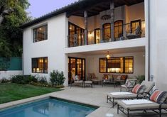 Modern Luxury Home Plan With Fabulous Wrought Iron Porch Railings Using Small Swimming Pool And Comfortable Chaise Lounges , Simple Porch Railings, Best Porch Railings - Falova.com