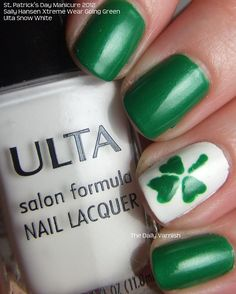 Maybe all white. Not a huge fan of green. Then keep nails white and change the one finger with the holidays or seasons!